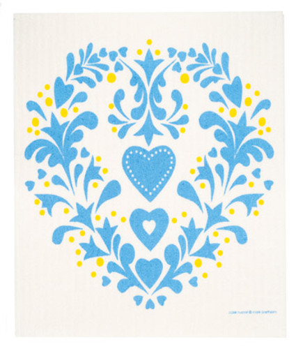 Swedish dish cloth, Blue Folk Heart design