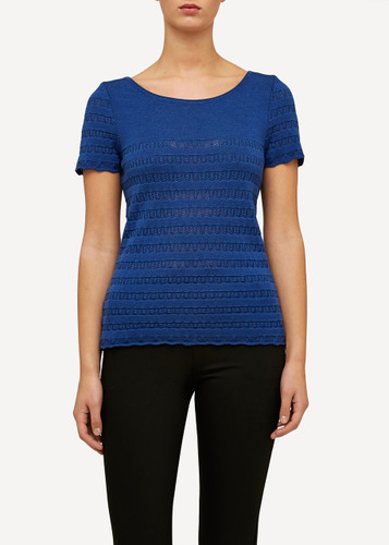 Oleana Short Sleeve Top with Lace Pattern, 309F Blue