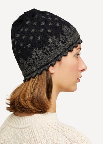 Oleana Alpaca Hat, 407O Black/Grey