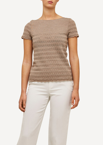 Oleana Short Sleeve Top with Lace Pattern, 309B Beige