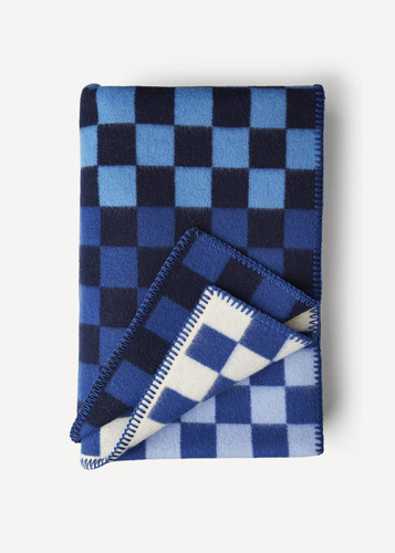 Oleana Blanket in a Pattern of Bold Small Squares, 213F Blue