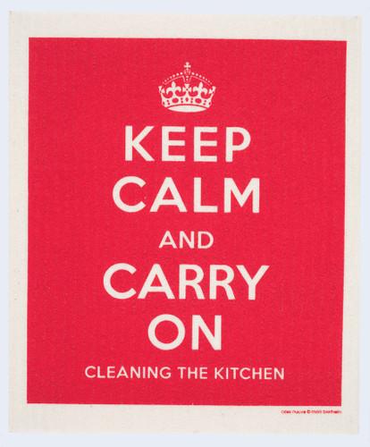 Swedish dish cloth, Red Keep Calm design