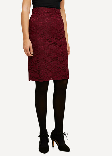 Lea Oleana Short Lace Skirt, 85K Burgundy