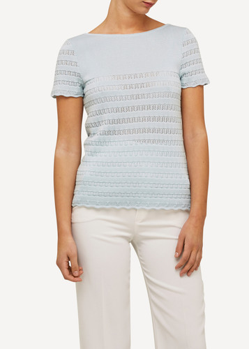 Oleana Short Sleeve Top with Lace Pattern, 309Q Light Blue