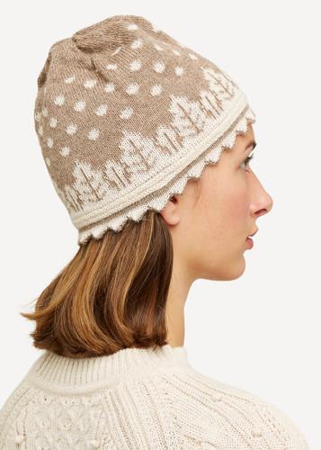 Oleana Striped Alpaca Hat, 407 BQ Beige/White