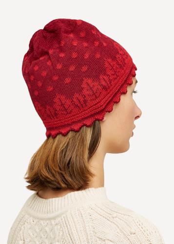 Oleana Striped Alpaca Hat, 407R Red