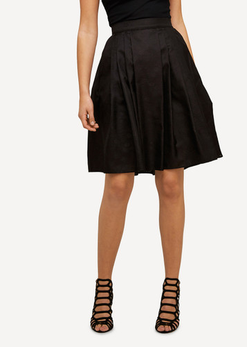 Ellen Oleana Short Pleated Silk Skirt, 86O Black