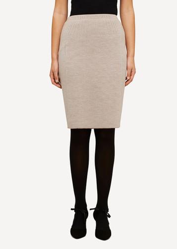 Oleana Short Knitted Skirt, 321B Beige
