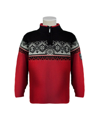 Dale of Norway, St. Moritz childrens sweater in Raspberry/Black/Off White, 9150-B