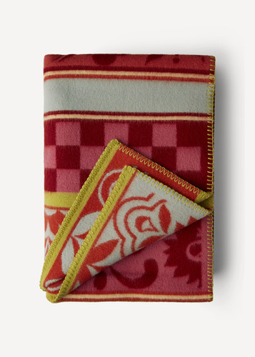 Oleana Blanket with Spanish Checks and Florals, 207R Red