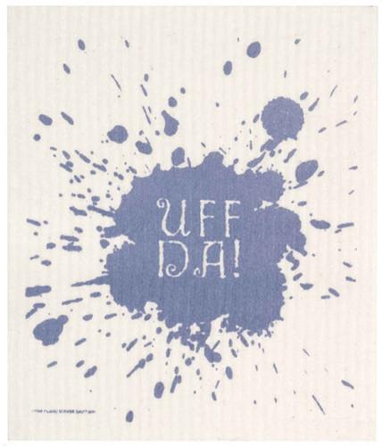 Swedish dish cloth, Blue Uff-Da design