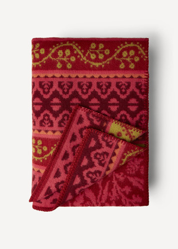 Oleana Blanket with a Delicate Floral and Accent Pattern, 212R Red