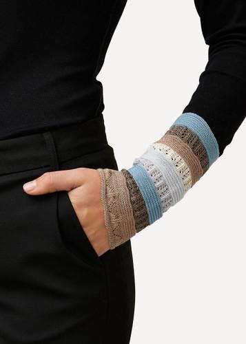 Viktoria Oleana Striped Textured Wristlet, 324BQ Beige