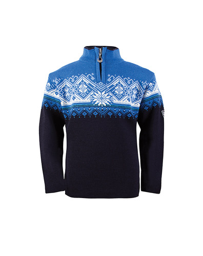 Dale of Norway St. Moritz Pullover, Childrens - Navy/Cobalt/Sochi Blue/Off White, 9150-C