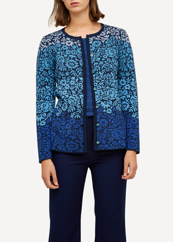 Oleana Flower Lace Medium Long Cardigan, 195-F Dark Blue (195 F)