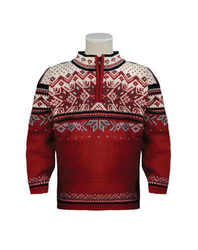 Dale of Norway Vail Pullover, Childrens - Red Rose/Midnight Navy/Off White/Steel Silver, 9034-B
