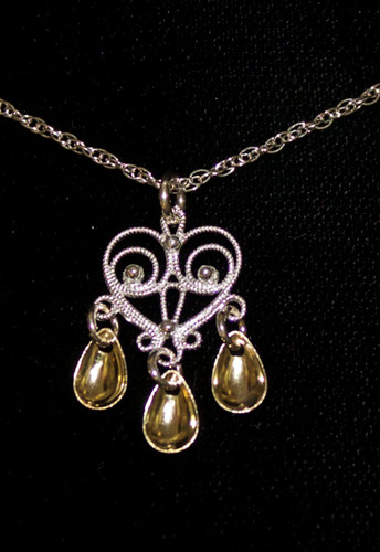 Single Heart - Three Tears - Pendant, Solje of Norway