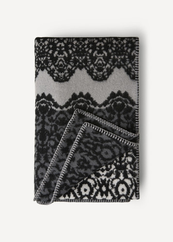 Oleana Blanket in a Lace Pattern with Contrast Stripe, 214D Grey