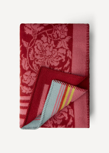 Hanna Oleana Blanket with Floral Pattern and Accent Stripes, 203D Pink