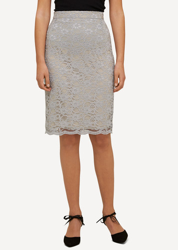 Lea Oleana Short Lace Skirt, 85D Grey
