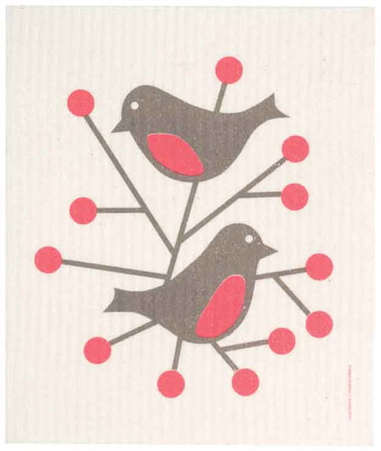 Swedish dish cloth, Red Birds design
