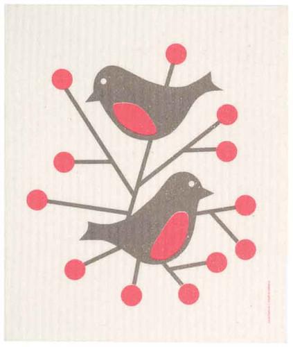 Swedish dish cloth, Red Birds design