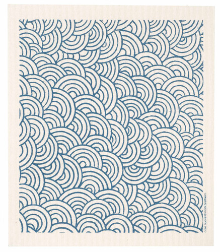 Swedish dish cloth, Blue Circles design