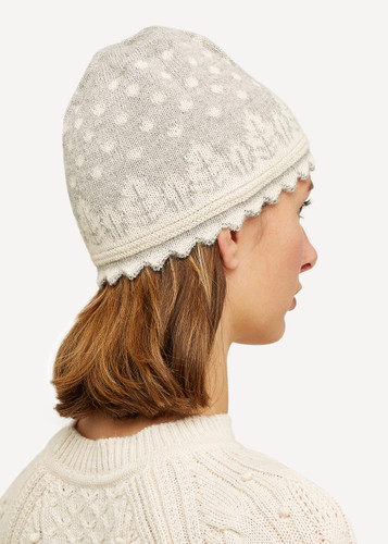 Oleana Striped Alpaca Hat, 407B Grey Beige