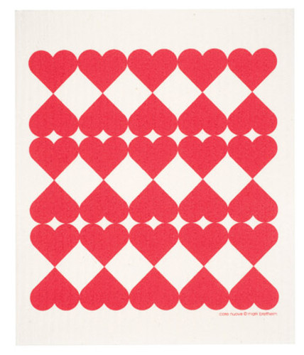 Swedish dish cloth, Harlequin Hearts design