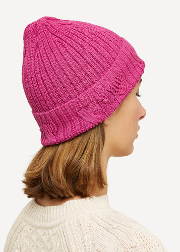 Linnea Oleana Textured Knitted Hat, 423K Pink