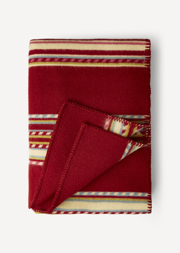 Oleana Blanket with Red and Multi-Colored Stripes, 202A Red