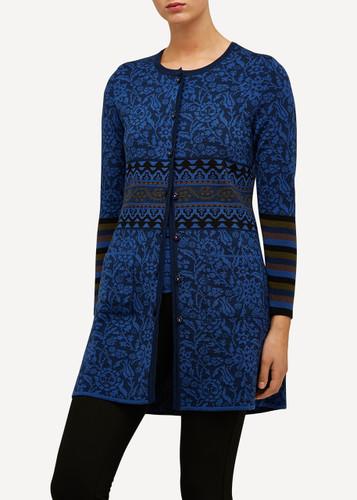 Oleana Long Cardigan with Pockets, 168W Dark Blue