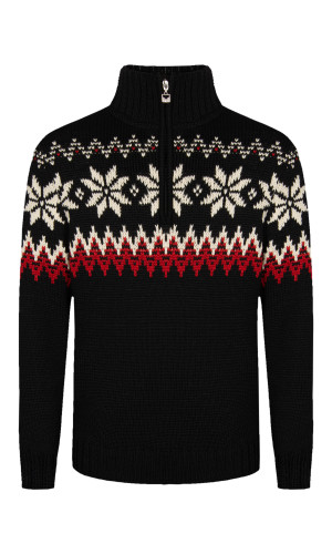 Dale of Norway Myking Sweater, Mens - Black/Raspberry/Off White, 93141-F