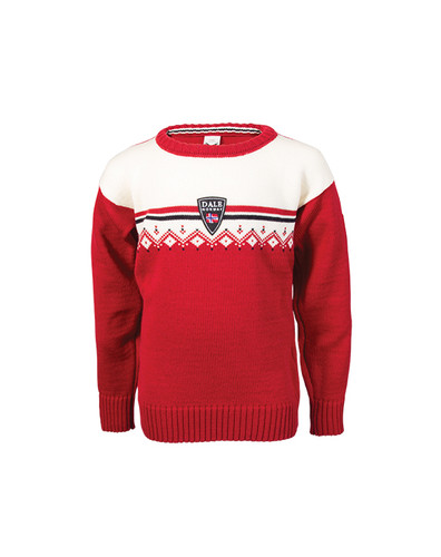 Dale of Norway, Lahti childrens sweater in Raspberry/Off White/Navy, 93311-B