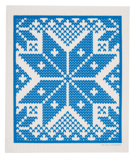 Swedish dish cloth, Blue Selbu design