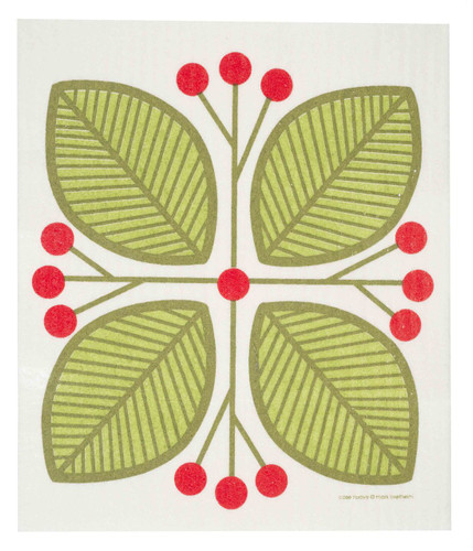 Swedish dish cloth, Green Leaves and Berries design