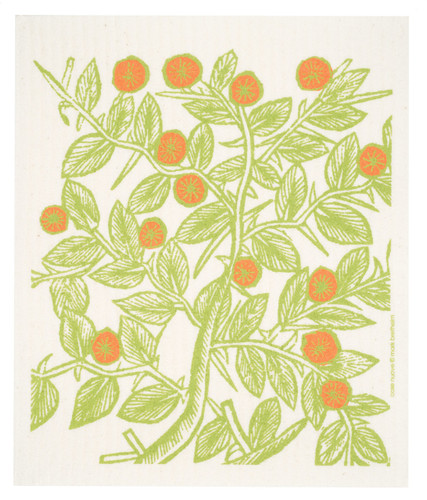 Swedish dish cloth, Orange Fruit Trees design