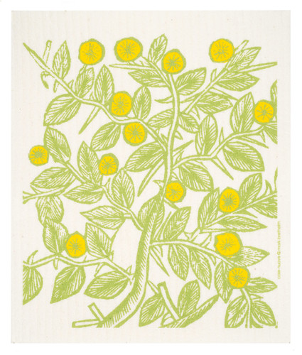 Swedish dish cloth, Lemon Fruit Trees design