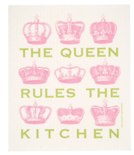 Swedish dish cloth, Pink Queen design