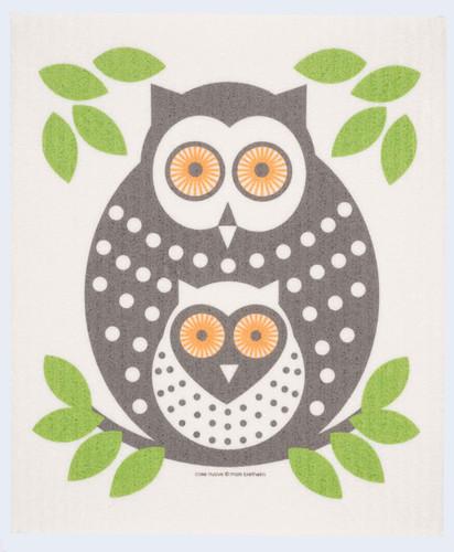 Swedish dish cloth, Green Owls design