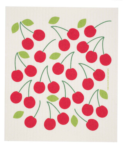 Swedish dish cloth, Cherries design