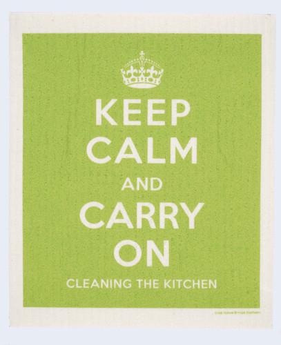 Swedish dish cloth, Green Keep Calm design