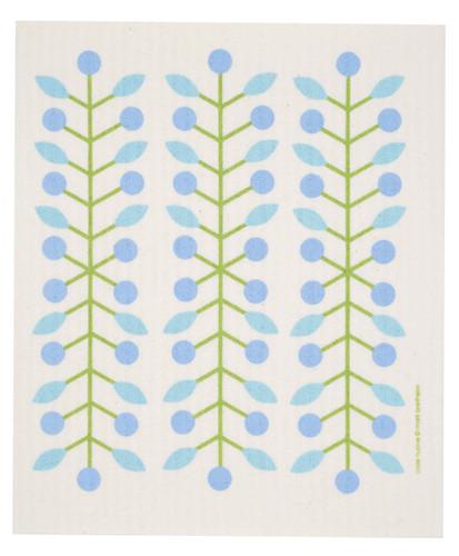Swedish dish cloth, Blue Berry Branch design