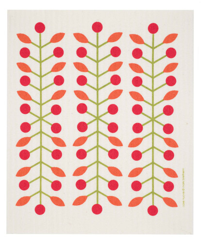 Swedish dish cloth, Red Berry Branch design