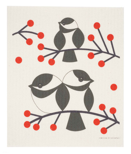 Swedish dish cloth, Chickadee design
