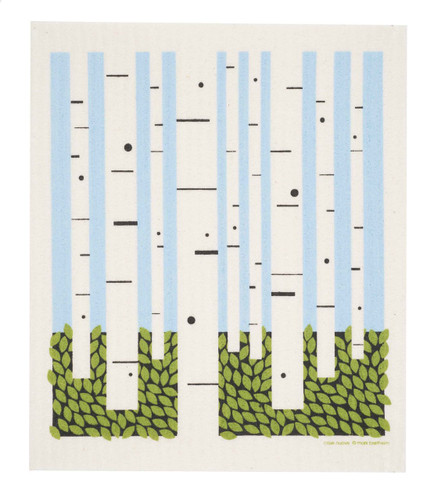 Swedish dish cloth, Birch Forest design