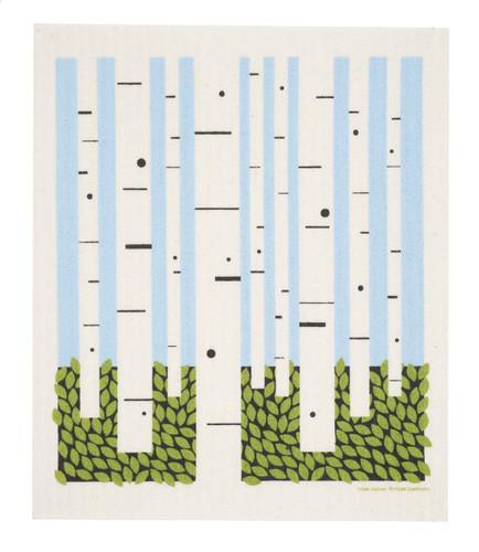 Swedish dish cloth, Birch Forest design