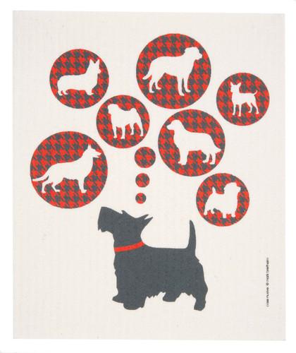Swedish dish cloth, Dogs design