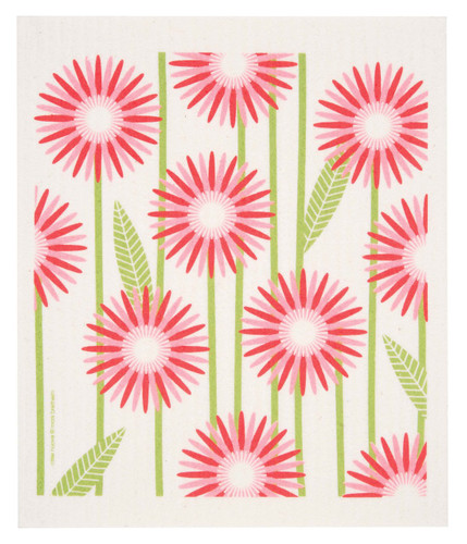 Swedish dish cloth, Pink Daisies design
