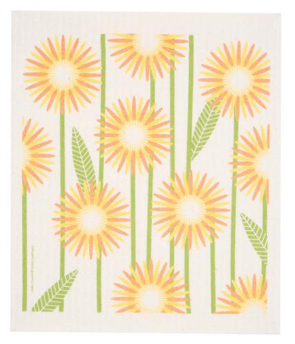 Swedish dish cloth, Yellow Daisies design